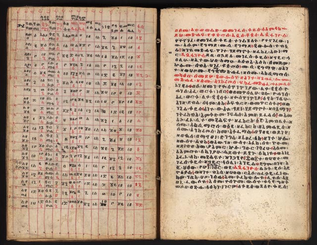 Bahera Haszab - This Ethiopian manuscript, in the languages of Amharic and Geez, is open to a page explaining the mathematical system for fixing the movable feasts and fasts of the Ethiopian Orthodox Church.
