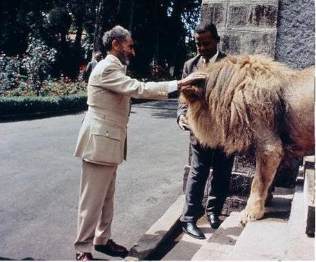 HIM Emperor Haile Selassie I with a lion